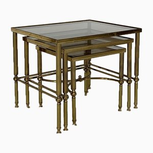 Vintage Brass & Glass Nesting Coffee Tables, Set of 3