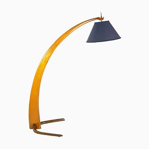 Mid-Century Rispal Style Curved Wood & Brass Floor Lamp