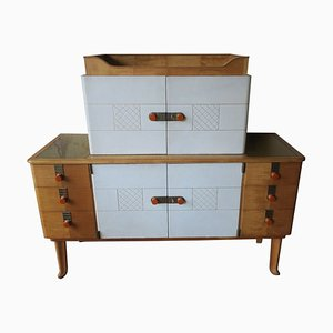 Maple, Leather & Gold Colored Glass Sideboard from Laszlo Hoenig, 1940s