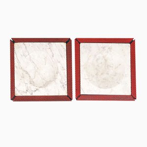 Italian Red Marble and Micro-Perforated Metal Ashtrays, 1980s, Set of 2