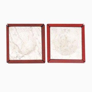Italienischer Aschenbecher aus rotem Marmor & perforiertem Metall, 1980er, 2er Set