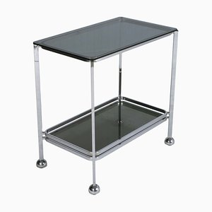 Italian Chrome Steel & Glass Trolley Bar Cart, 1970s