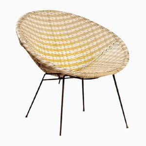 White & Yellow Wicker Cocktail Chair, 1950s