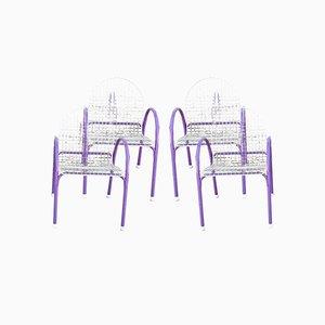 Sedia da giardino modernista in metallo viola e bianco di Meblo, anni '60, set di 4