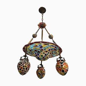 Lámpara de araña estilo Liberty de mosaico de vidrio, años 20