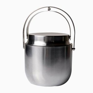 Stainless Steel Ice Bucket by Anselmo Vitale and Carlo Mazzeri for Alessi, 1970s