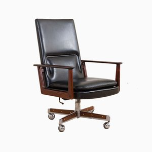 Danish Rosewood and Black Leather Executive Desk Chair by Arne Vodder for Sibast, 1960s