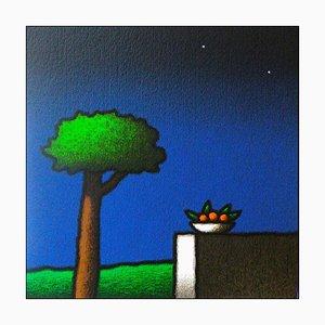 Tino Stefanoni, Orangefarbene Vase an der Wand, Farbiger Siebdruck