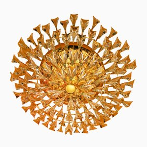 Italian Gold-Plated Brass & Crystal Ceiling Lamp from Stilkronen, 1970s
