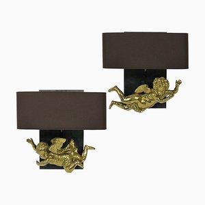 Französische Vergoldete Messing Engels Wandlampen, 1800er, 2er Set