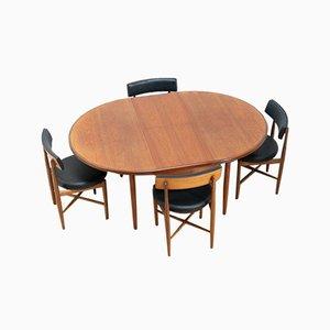 Mesa de comedor Fresco vintage de teca con sillas de comedor de G-Plan. Juego de 5