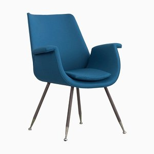 Blue Armchair by Gastone Rinaldi for Kvadrat, Italy, 1950s