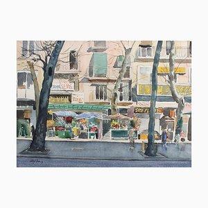 Ramblas Barcelona, Josè Goday, 1984, acquerello