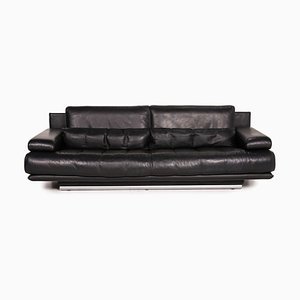 6500 Black Leather Sofa by Rolf Benz