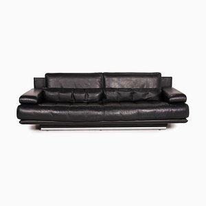Sofá 6500 de cuero negro de Rolf Benz