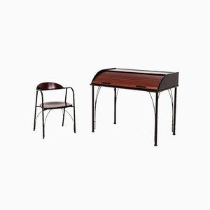 Sekretär und Stuhl aus Holz von Ligne Roset, 2er Set