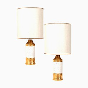 Bitossi Lamps with Custom Made Shades by Rene Houben, Set of 2