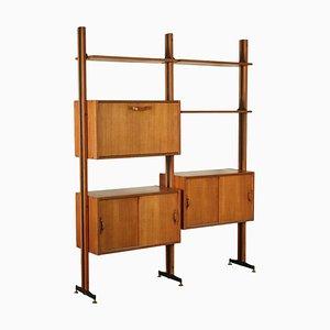 Bücherregal aus Teak Furnier & Metall, Italien, 1960er