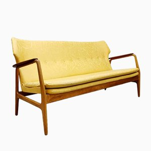 Dutch Mid-Century Yellow Floral Sofa by Aksel Bender Madsen