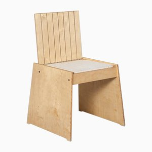 Trapezförmiger Hocker / Stuhl aus Schichtholz