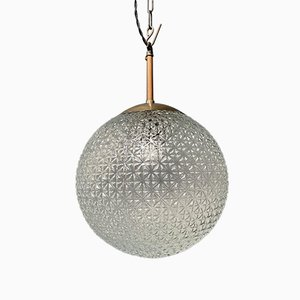 Large Glass Bulb Lamp with Patterned Glass