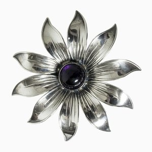 Silver and Amethyst Brooch by Arvo Saarela