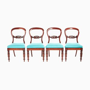 19th Century Victorian Mahogany Balloon Back Dining Chairs, Set of 4