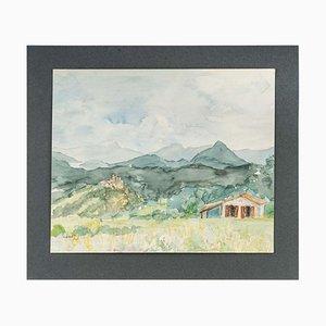Paesaggio di montagna, acquerello su carta