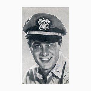 Ritratto autografo di Tony Curtis, cartolina B / N vintage, 1959