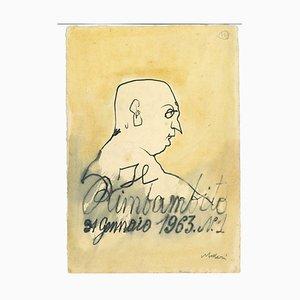 Mino Maccari, Der alte Narr Il Rimbambito, China Tusche & Aquarell, 1963