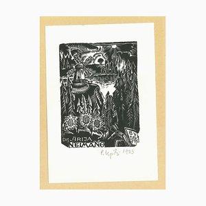 Unknown, Ex Libris Arija Neimane, Woodcut, 1983