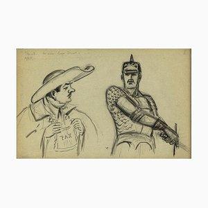 Unbekannte, Karikaturfiguren, Kohlezeichnung, Mitte 20. Jahrhundert