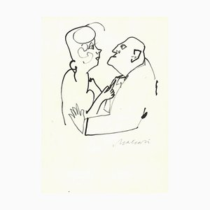 Mino Maccari, Confidential Look, Ink Drawing, Mid-20th Century