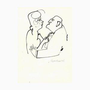Mino Maccari, Confidential Look, Tintenzeichnung, Mitte 20. Jahrhundert