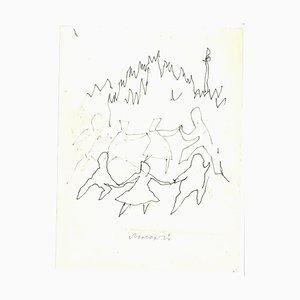 Mino Maccari, La Danse, Ink Drawing, 1960s