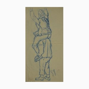 Unknown - Soldiers - Original Pencil and Pastel - Mid-20th-Century