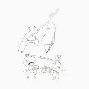 Mino Maccari - Swordsman - Original Ink - 1960er