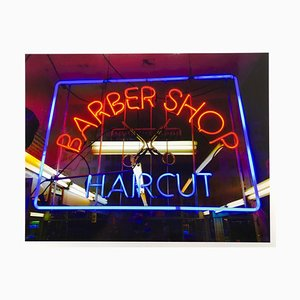 Barber Shop, New York - Neon Color Street Photograph, 2017