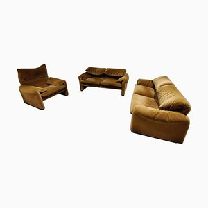 Maralunga Sofa Set von Vico Magistretti für Cassina, 1973, 3er Set