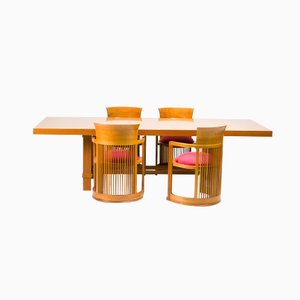 Cassina Taliesin Dining Table and Barrel Chairs by Frank Lloyd Wright