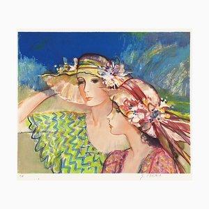 Girls in Flowered Hat by Sachiko Imai