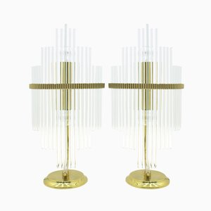 Glass & Brass Italian Table Lamps by Gaetano Sciolari, 1970s, Set of 2