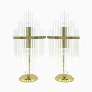 Lámparas de mesa italianas de vidrio y latón de Gaetano Sciolari, años 70. Juego de 2