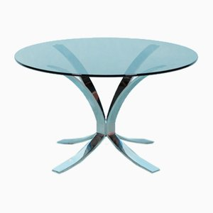 Roger Sprunger Style Round Chrome & Smoked Glass Coffee Table, 1960s