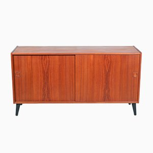 Danish Restored Credenza with Sliding Doors, 1960s