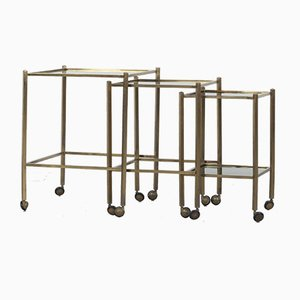 Italian Brass Coffee or Side Tables with Wheels, 1970s, Set of 3