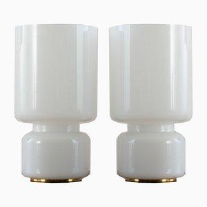 Vintage Claudio Salocchi Murano Glas Tischlampen auf Messingbasis, 2er Set
