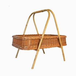 Rattan Basket or Side Table with Handle, 1960s