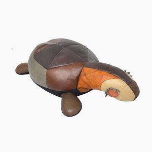 Großes Dekoratives Schildkröten Kissen aus Leder, 1960er