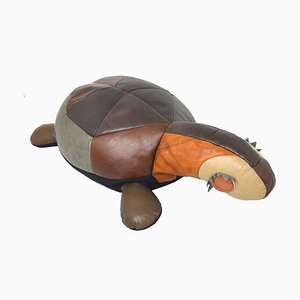 Large Decorative Leather Turtle Pillow, 1960s